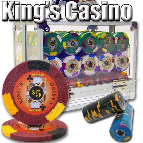 600 Ct Kings Casino Acrylic Poker Chip Set with 6 Clear Chip Trays by Brybelly