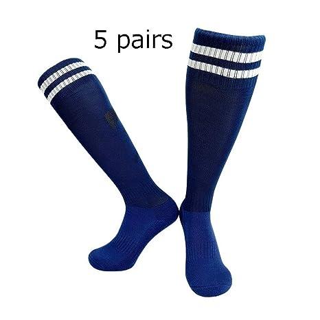 Calcetín Del Fútbol 5 pares niños niñas deporte largos calcetines ...