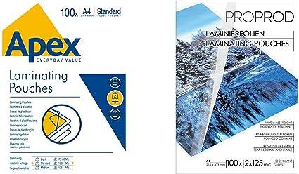 100 Pi/èces Fellowes Apex Pochette de plastification Epaisseur moyenne 125 microns Transparent /& A4 Apex Standard Duty Lamination Pouch