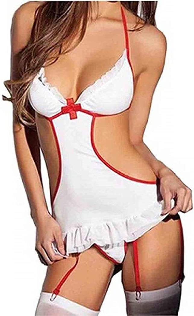 FONDBERYL Mujer Lencería Cosplay Enfermera Disfraz Bodysuit Disfraces de Enfermera Uniforme Vestido Sexy Ropa de Dormir Lencería Cosplay para Mujer, Blanco/Rojo, M