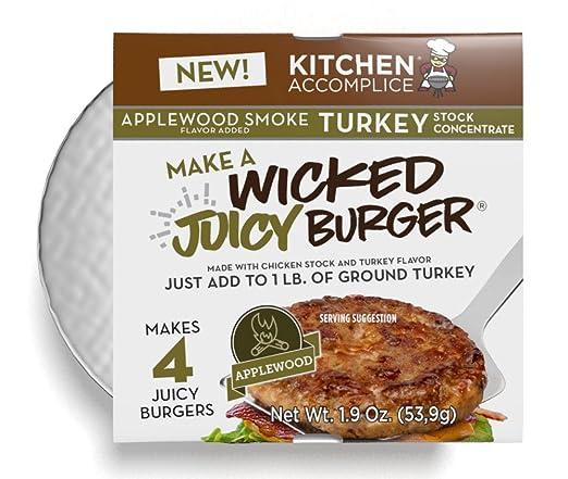 amazon com kitchen accomplice wicked juicy turkey burger applewood smoke 1 9 ounce grocery gourmet food