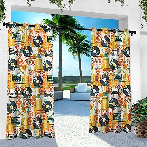 leinuoyi Music, Outdoor Curtain Set, Pattern with Musical Instruments in Flat Design Style Cassette Radio Vinyl Nostalgic, for Patio Furniture W108 x L108 Inch Multicolor