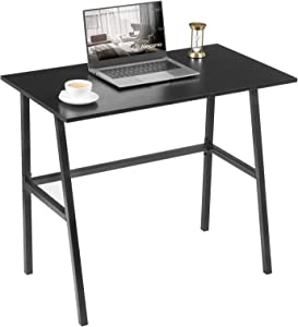 """Small Black Desk, Alecono 35"""" Small Space Study Desk Small Ergonomic Desk for Small Spaces Workstation Home Office Desks Simple Writing Desk Sturdy Tiny Desk with Metal Frame for Bedroom"""