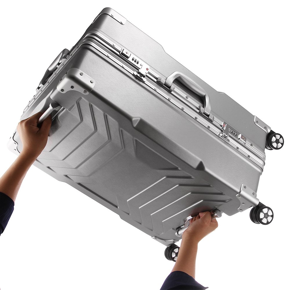 fbb0940337fe Details about Aluminum frame and PC shell Anti-scratch trolley luggage 20