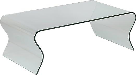 Destock Meubles Mesa Baja Design Cristal Curvado Olas: Amazon.es ...