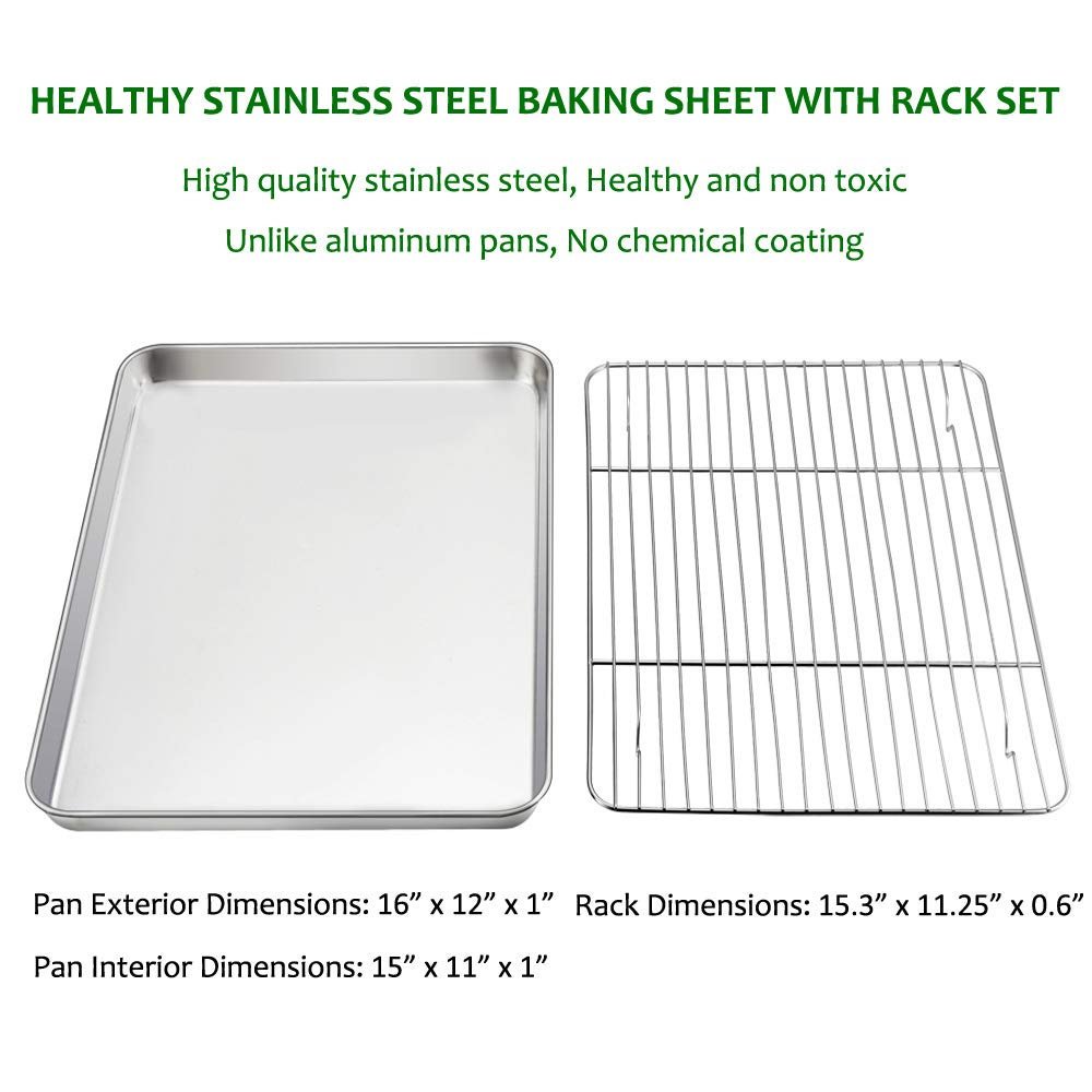 Baking Sheet with Rack Set, E-far Stainless Steel Baking Pans Tray Cookie Sheet with Cooling Rack, 16 x 12 x 1 inch, Non Toxic & Healthy, Rust Free & Dishwasher Safe - 4 Pieces (2 Sheets + 2 Racks) by E-far (Image #2)