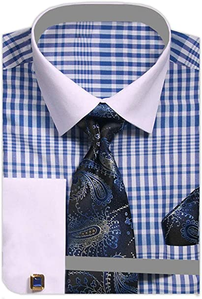 Men/'s Two Tone Check French Cuff Shirt Tie Hanky CuffLinks