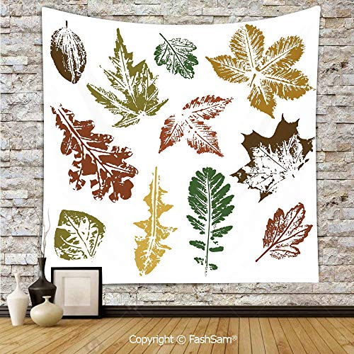 FashSam Hanging Tapestries Autumn Spring Maple Oak Various Tree Leaves in Grunge Style Art Decorative Wall Blanket for Living Room Dorm Decor(W51xL59) ()