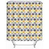 Grey and Yellow Shower Curtain Uphome Moroccan Fabric Shower Curtain, Grey and Yellow Damask Trellis Patterns Decorative Bath Curtain Sets, Waterproof and Mildew Resistant, 72x72