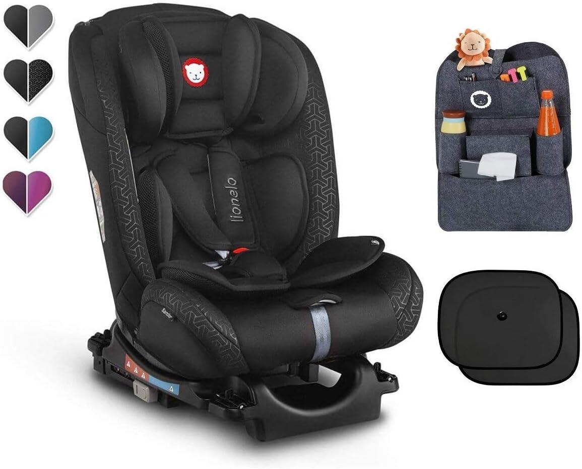 Asiento infantil para coche LIONELO SANDER ISOFIX color gris 0-36 kg, asiento giratorio, organizador y parasol
