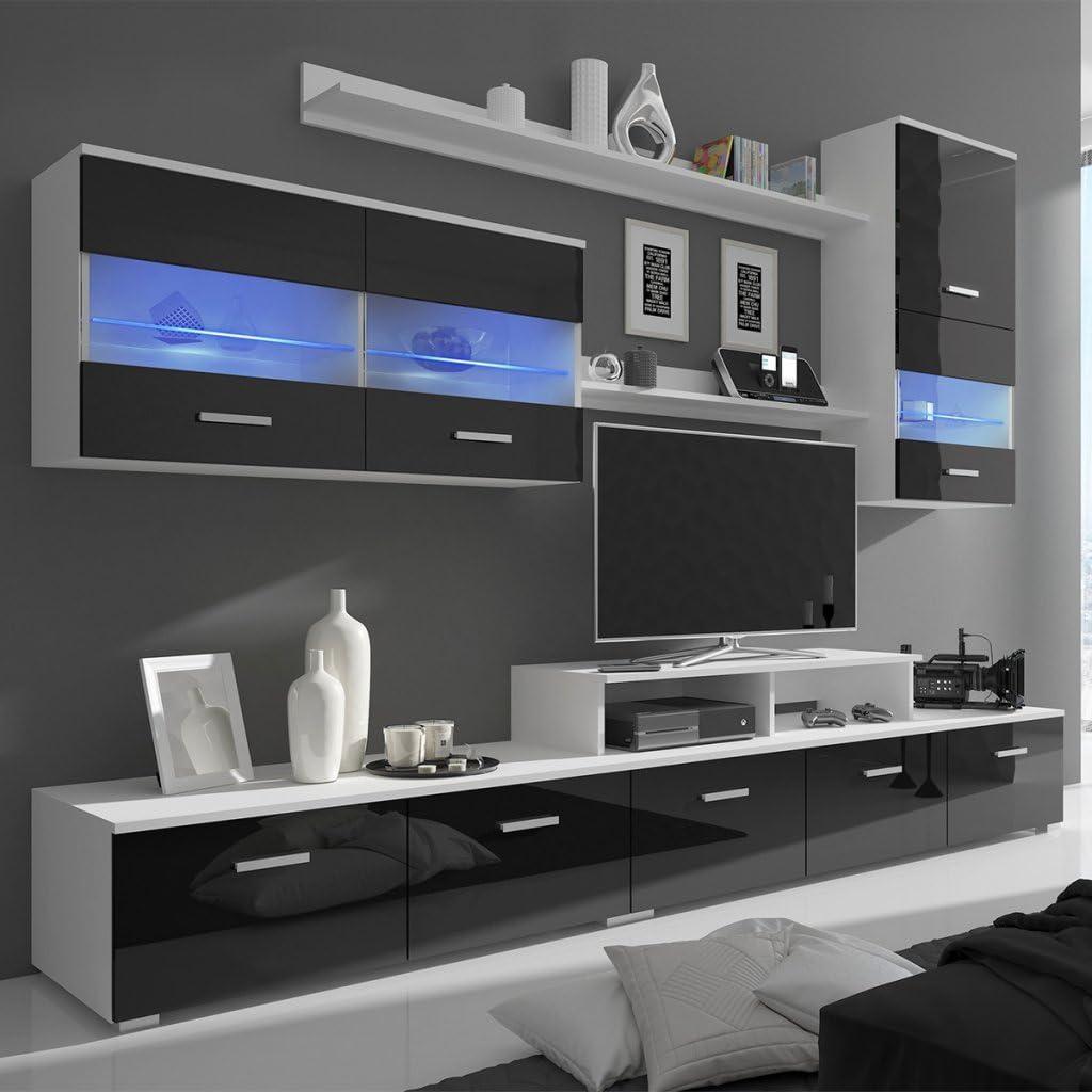 Festnight Mueble de Salón con LED 250 cm Mesa para TV Negro 7 Piezas: Amazon.es: Hogar