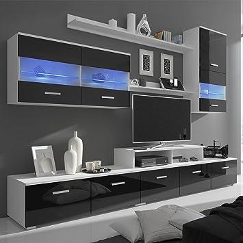 Festnight 7 Pièces Ensemble Meuble TV Design Avec Eclairage LED Armoire  Basse 250cm Haute Brillance