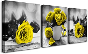 3 piece Framed Canvas Wall Art for Living Room bathroom Wall decor modern kitchen Wall Artworks for home walls paintings restaurant Bedroom Decoration Yellow rose flowers pictures inspiration posters