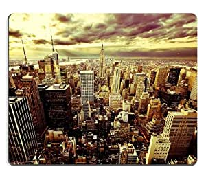 New York Twilight Cityscape Scenery Mouse Pads Customized Made to Order Support Ready 9 7/8 Inch (250mm) X 7 7/8 Inch (200mm) X 1/16 Inch (2mm) High Quality Eco Friendly Cloth with Neoprene Rubber Luxlady Mouse Pad Desktop Mousepad Laptop Mousepads Comfortable Computer Mouse Mat Cute Gaming Mouse pad