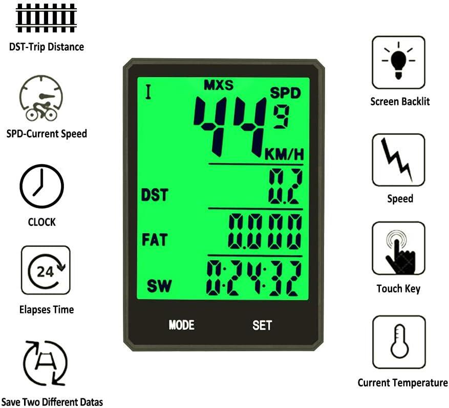/étanche compteur de vitesse r/étro/éclairage /écran LCD Compteur de v/élo sans fil compteur de vitesse compteur kilom/étrique pour le cyclisme en temps r/éel 12 fonctions