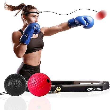 Balón de boxeo Reflex, bola de boxeo en cuerda con diadema, gafas ...