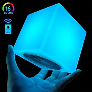 LOFTEK LED Light Cube: 4-inch RGB 16 Colors Cool Cosmic Cube Lights with Remote Control, MCU Tesseract Mood Lamp, IP65 Waterproof and USB Charging Beside Desk Lamp, Perfect for Kids Nursery and Toys