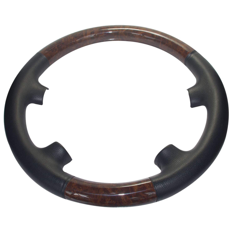 Goodangie00 Black Leather Brown Wood Steering Wheel Protector Cover Decor 2002-2006 W211 S211 T-Model E Class E200 E270 E300 E320 E400 E500 E55 AMG