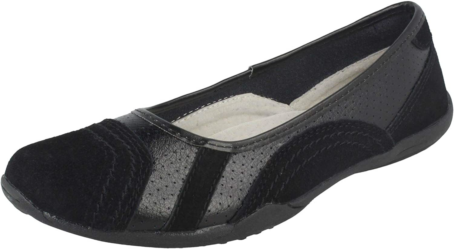 Down To Earth Ladies Flat Ballerina Shoes