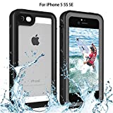 iPhone 5/5S/SE Waterproof Case, Re-Sport Shockproof Dustproof Full-Sealed Protective Underwater Phone Case Cover with IP68 Certificated Compatible iPhone 5 5S SE (Black)