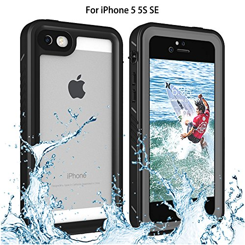 iPhone 5/5S/SE Waterproof Case, Re-sport Shockproof Dustproof Full-sealed Protective Underwater Phone Case Cover with IP68 Certificated for iPhone 5 5S SE (Black)