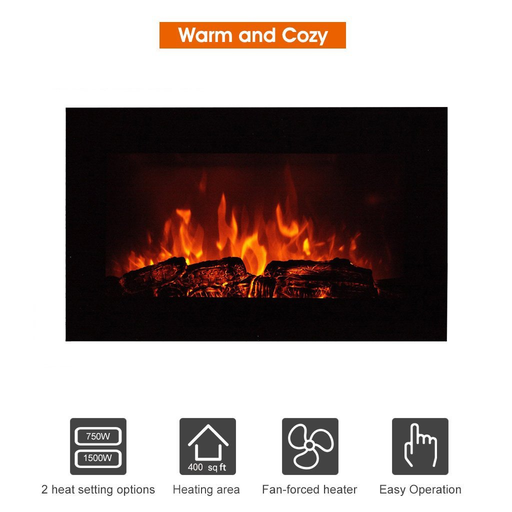 Homeleader 35 Electric Fireplaceelectric Fireplace Cozy Gas Wall Heater Wiring Diagrams With Remote Controlwall Mounter And Freestanding Fireplace750 1500w