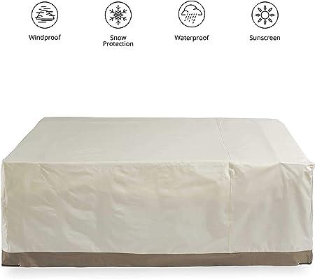 NTR Funda Impermeable para Muebles de jardín 170 x 100 x 70 Rectangular Impermeable Funda Protectora Lona con asa en Beige, Beige, 170 x 100 x 70 cm: Amazon.es: Hogar