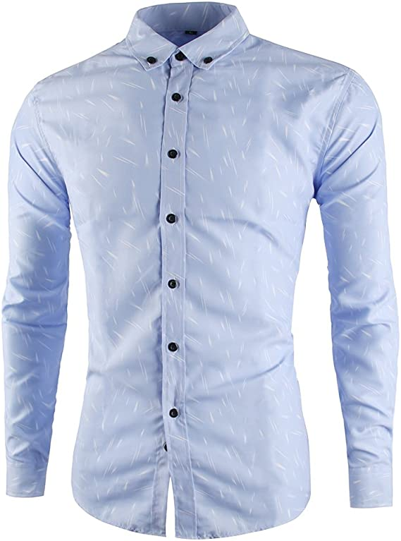 TUNEVUSE Mens Casual Comfortable Long Sleeve Shirts Slim Fit Dress Shirt