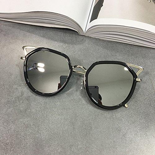 Burenqi Runden Rahmen Sonnenbrille, Antike Gläser, Cat Ear polarisierte Gläser, E