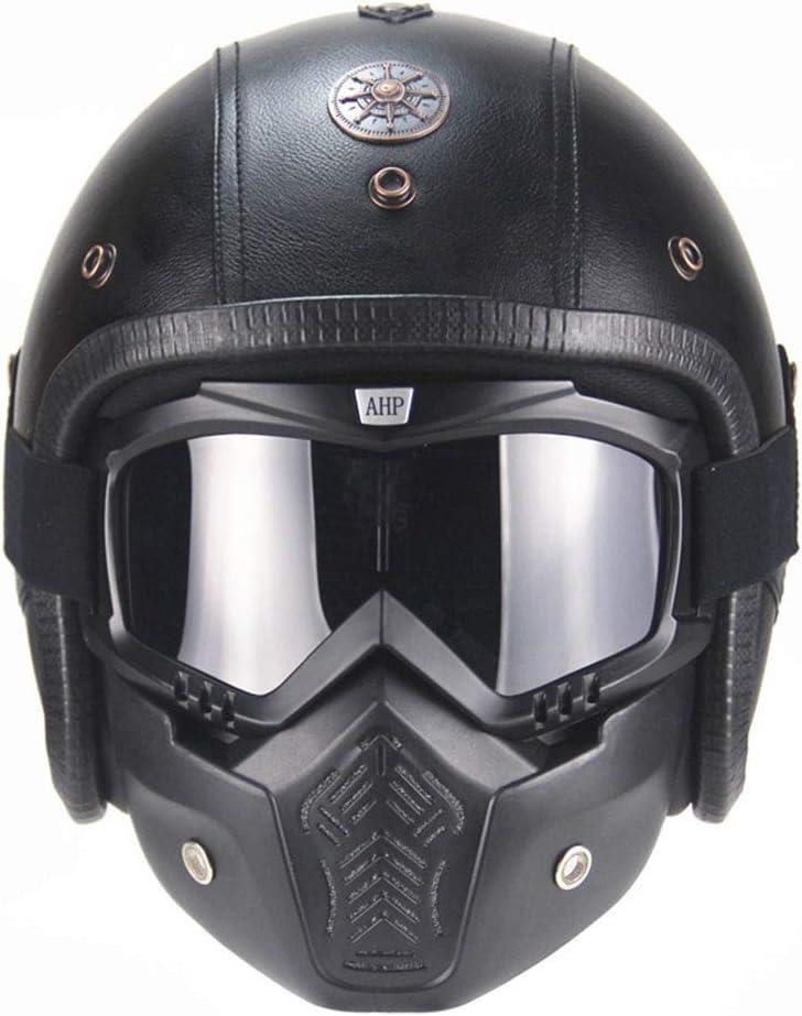 LG Snow Casco de motocicleta ABS estilo retro con combinación de personalidad, casco de motocicleta de 3/4 de piel (incluye máscara) (color negro, talla: XL)