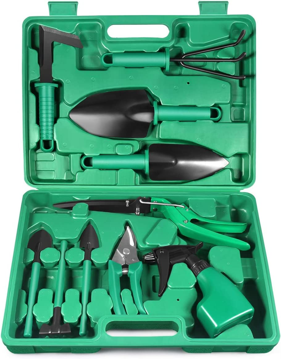 Garden Tools Set, 10 Piece Heavy Duty Gardening Tools with Carrying Case, Ergonomic Hand Tools, Rake, Shovel, Trowel, Sprayer, Gifts for Men, Women and Gardening Lovers