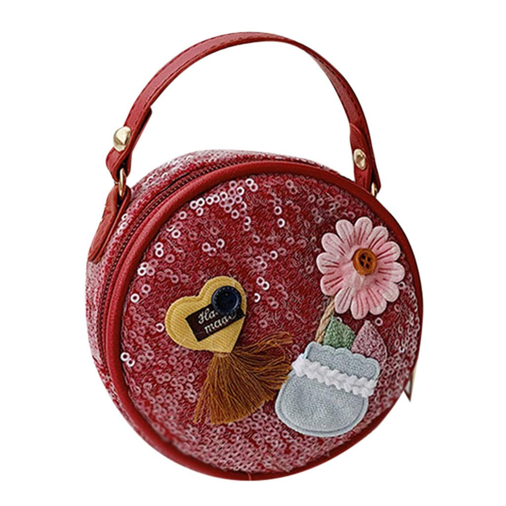 SCHOLIEBEN Travel Waterproof Rucksack Leather Clutch Beach Casual Fashion Girl Shoulder Bag Cute Flower Sequin Chain Messenger Bag Mini Coin Purse