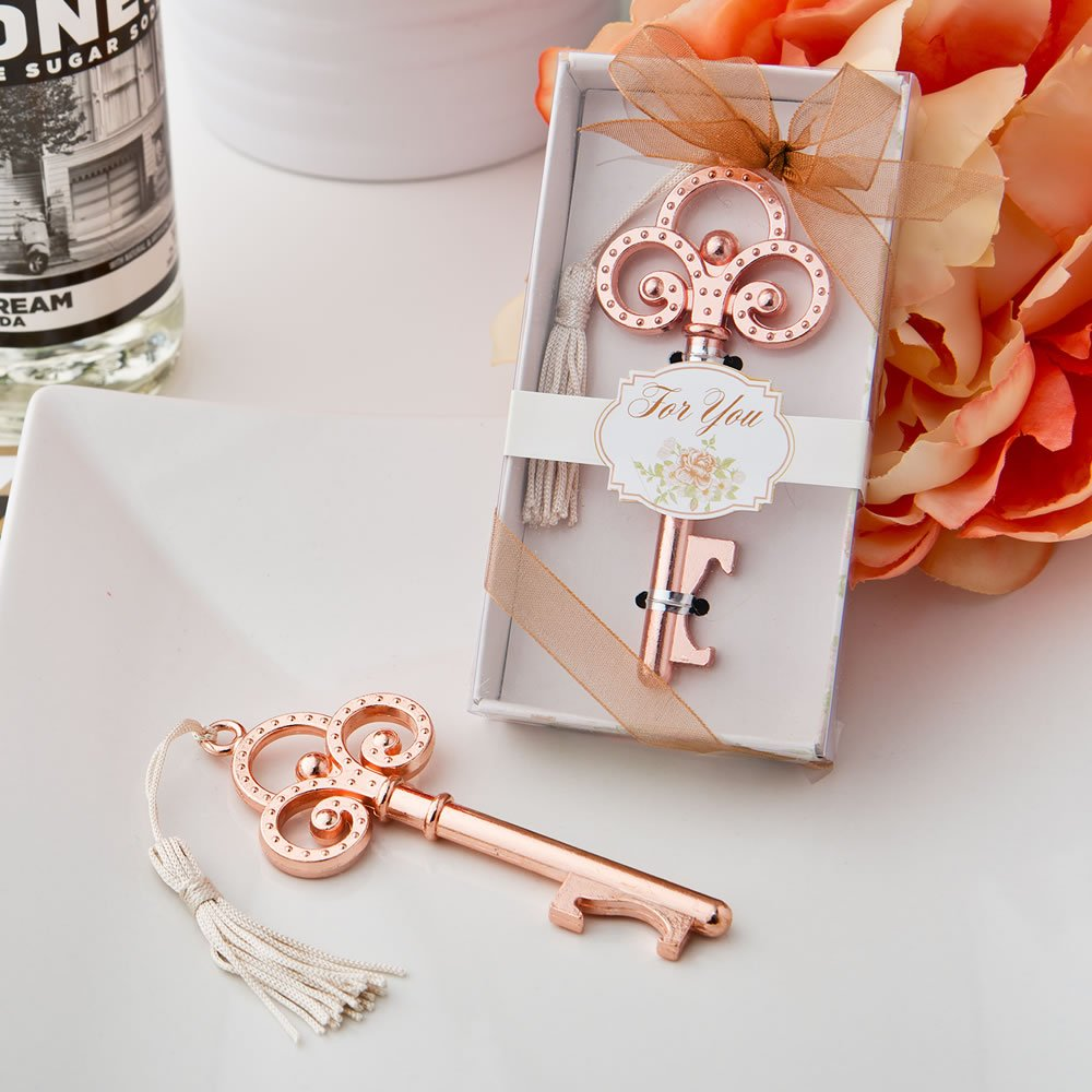 72 Rose Gold Vintage Skeleton Key Bottle Openers by Fashioncraft