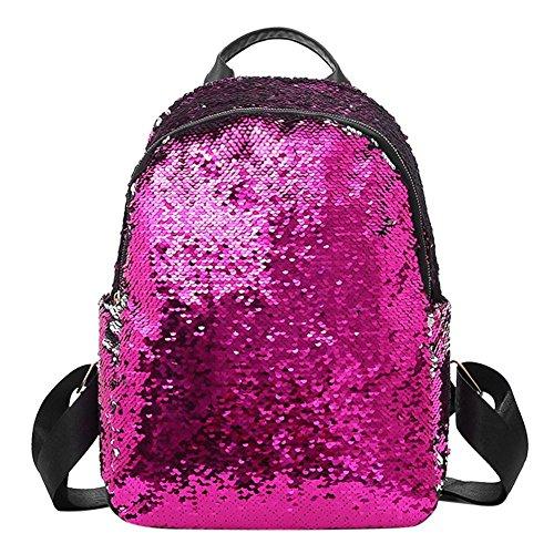 Prosperveil Glitter Sequins Women Party Shoulder Handbags Girls Casual Travel Backpacks Rose Red