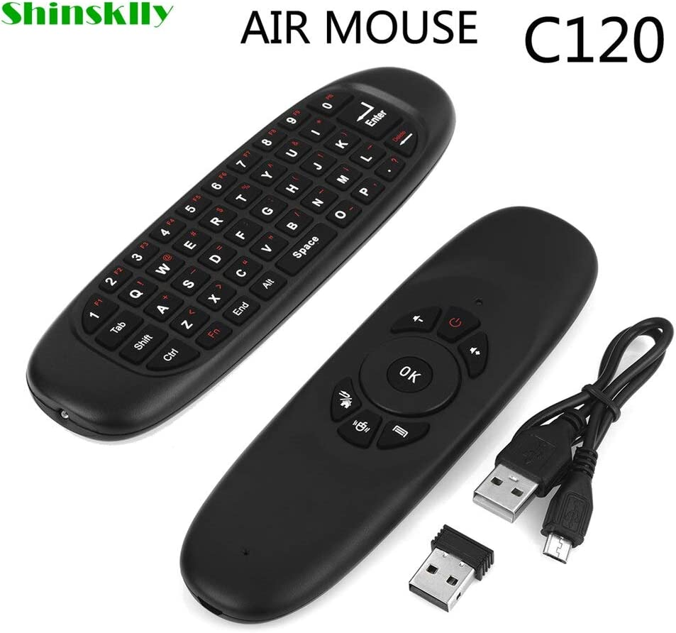 Calvas Shinsklly C120 Fly Air Mouse Wireless TV BOX Keyboard 2.4G Rechargeable Remote Controller 360 degree Control Android//TV//Tablet Color: air mouse
