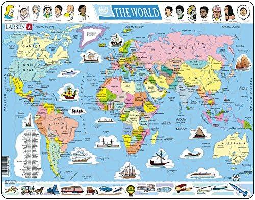 Larsen K1 El Mapa político Mundial, edición en Inglés, Puzzle de Marco con 107 Piezas: Amazon.es: Juguetes y juegos