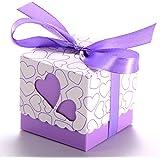 100x Boite a Dragee Mariage marie Coeur bapteme decoration table+ruban violet