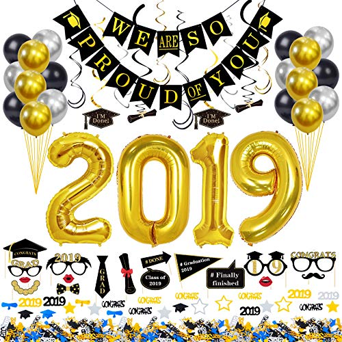 AHAYA 2019 Graduation Decorations Kit 68 Pieces - 2019 Balloons Gold 40 Inches, Metallic Chrome Latex Balloons, Hanging Swirls, Congrats Grad Banner, Grad Photo Booth Props, Graduation Confetti