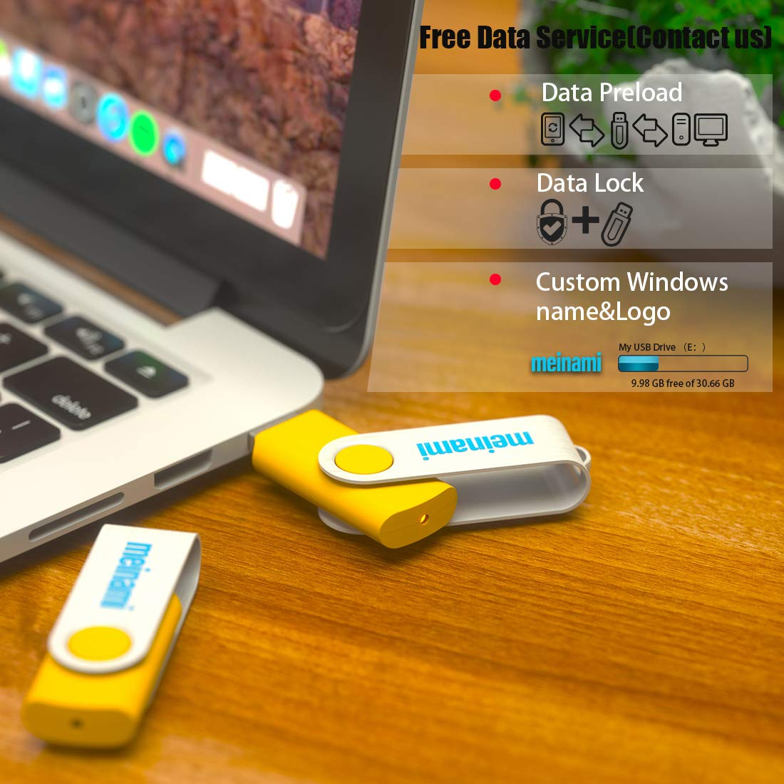 100 Pack 4GB USB Flash Drive Custom USB Thumb Drive Promotional Memory Stick Personalized Logo Jump Drive Twister Swivel Design in Bulk - PMS by MEINAMI (Image #6)