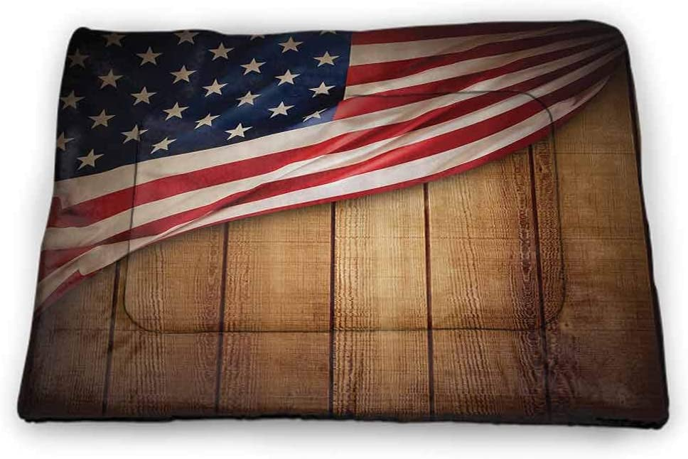 carmaxs Pet Placemat American Flag USA for Food and Water for Wood Floors Independence Day Concept and Damaged Wooden Fence with USA Flag Pattern Red Blue