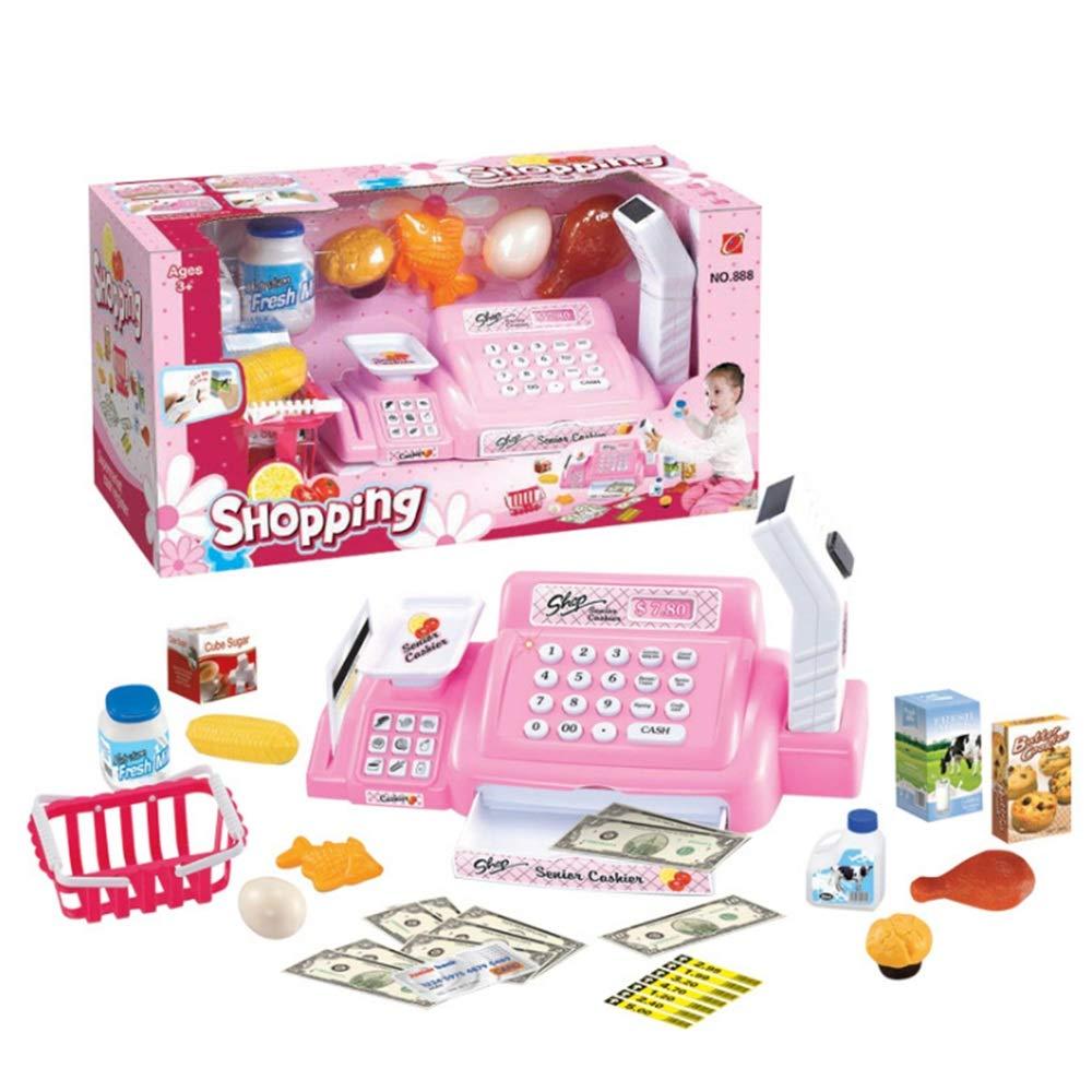 DIY Haus Rollenspiel Pretend Kids Toys Startseite Supermarkt Shopping Set Mädchen Jungen Marktstand Toy Shopping Umsatz Rechner Skala Registrierkasse Toys Mit Spiel Spielzeug Pricing-gun Lebensmittel Rosa