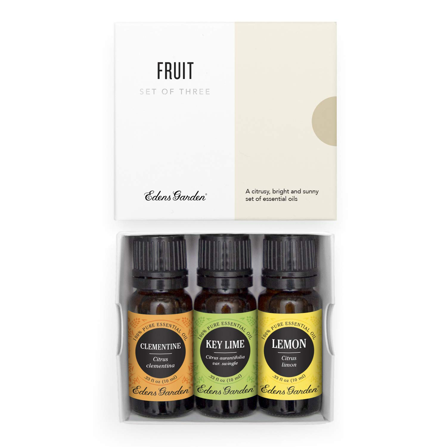 Edens Garden Fruit Essential Oil 3 Set, Best 100% Pure Aromatherapy Fruity Citrus Kit (For Diffuser- Energy & Weight Loss), 10 ml
