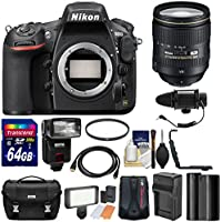 Nikon D810 Digital SLR Camera & 24-120mm f/4 VR Lens with 64GB Card + Case + Flash + GPS Unit + Microphone & LED Light + Battery + Kit