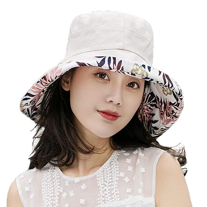 dad520d7140 Women s Floppy Foldable Bow Cotton Hat-Hollow-Summer Sun Beach-Wide Brim Cap  at Amazon Women s Clothing store