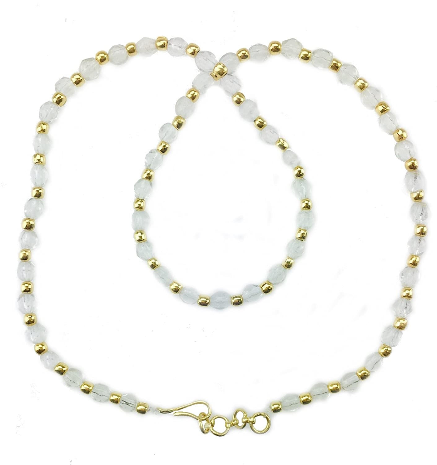 9279cb3a25b White & Gold/Silver Crystal Bead Necklace Plastic Chain Jewellery ...