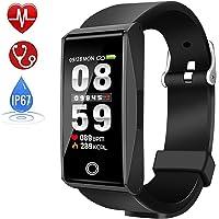 Qooker Montre Connectée,Sport Smartwatch Podometre Cardiofréquencemètre, Sommeil, Réveil, Notifications, Etanche IP68 Montre pour Femme Homme Enfant 14 Multi-Sports Compatible avec Android iOS