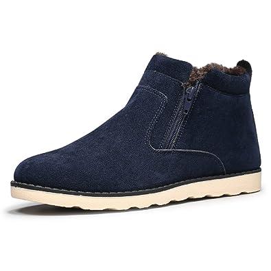 JACKSHIBO Herren Winter Wildleder Stiefeletten Mode Light Desert Boots  Kurzschaft Stiefel,Blau,EU 39 21cc359dd3
