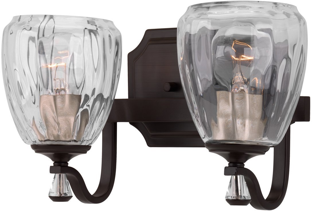 Luxury Crystal Bathroom Vanity Light, Medium Size: 7.5''H x 14''W, with French Country Style Elements, Olde Bronze Finish and Clear Water Shade, UHP2031 from The Ravenna Collection by Urban Ambiance