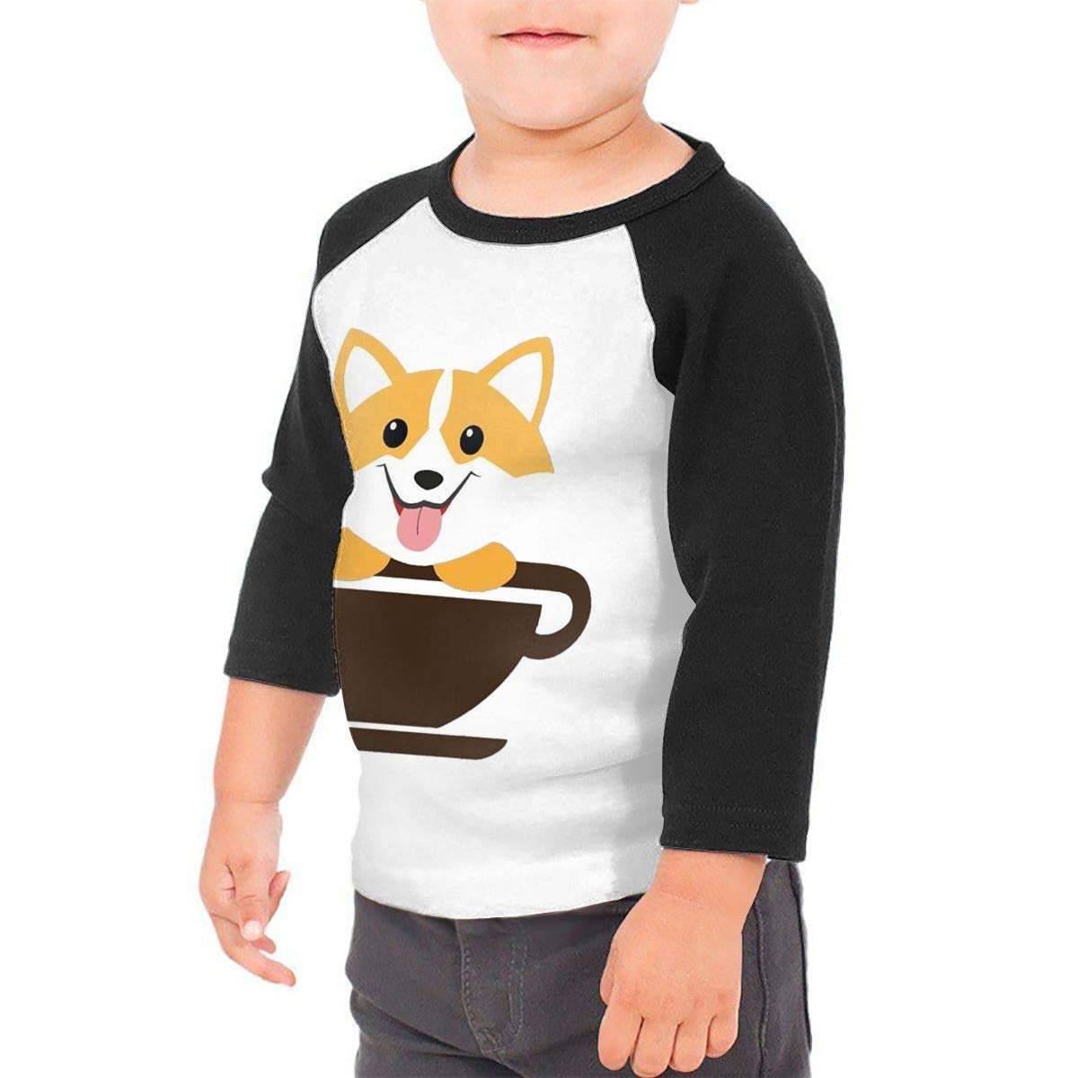 Corgi Dog Coffee Paw Teacups Unisex Toddler Baseball Jersey Contrast 3//4 Sleeves Tee