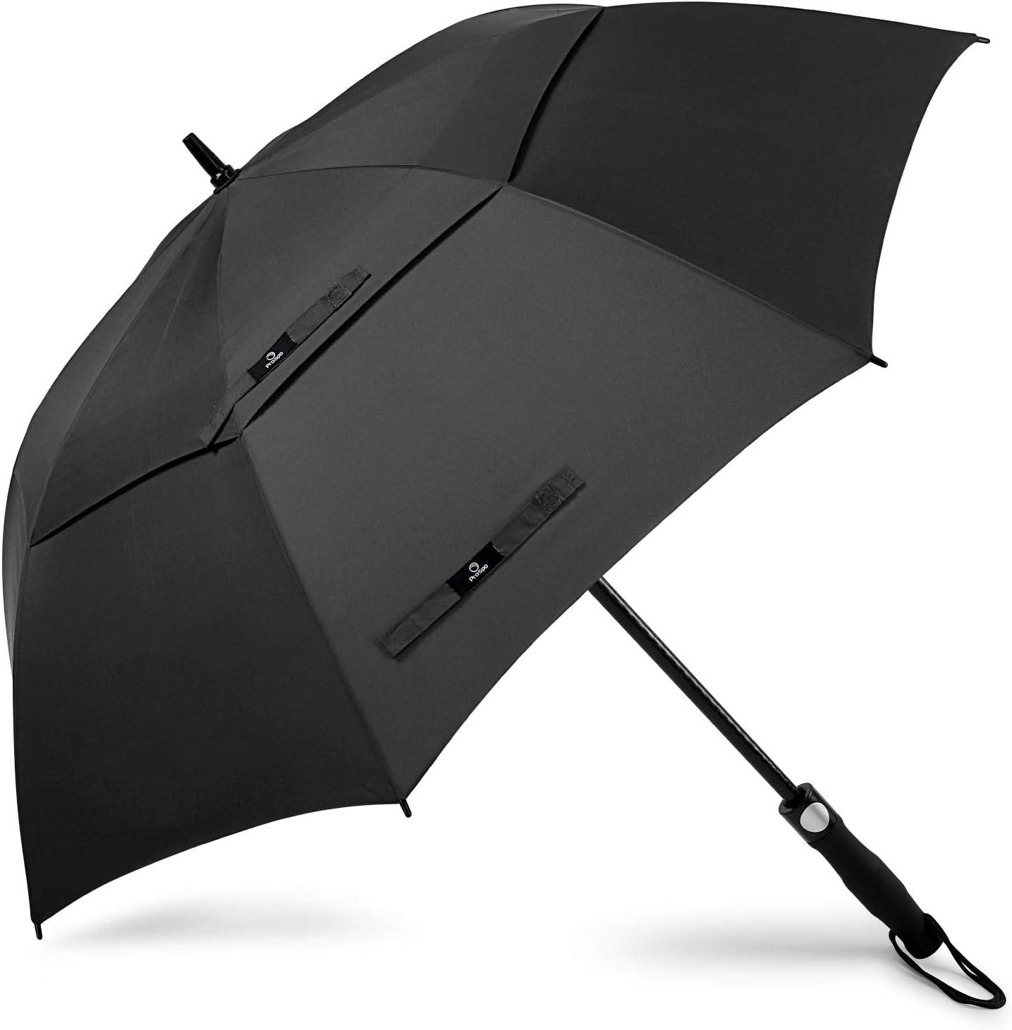Prospo Paraguas de golf de 58/62/68 pulgadas, grande, resistente, automático, resistente al viento, doble toldo de gran tamaño, con ventilación, lluvia y nieve